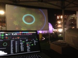 Flower&Ice 2d Projektion Dorfplatz im Zuge des Events Flower&Ice